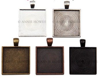 "25mm Square Bezel Pendant Tray with Textured Back. 25mm or 1"". Silver, Vintage Silver, Copper, and Bronze 50 Pack."