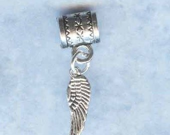 Silver Angel Wing Lrg Hole Bead Fits All European Style Add a Bead Charm Bracelet Jewelry Pnd-S13