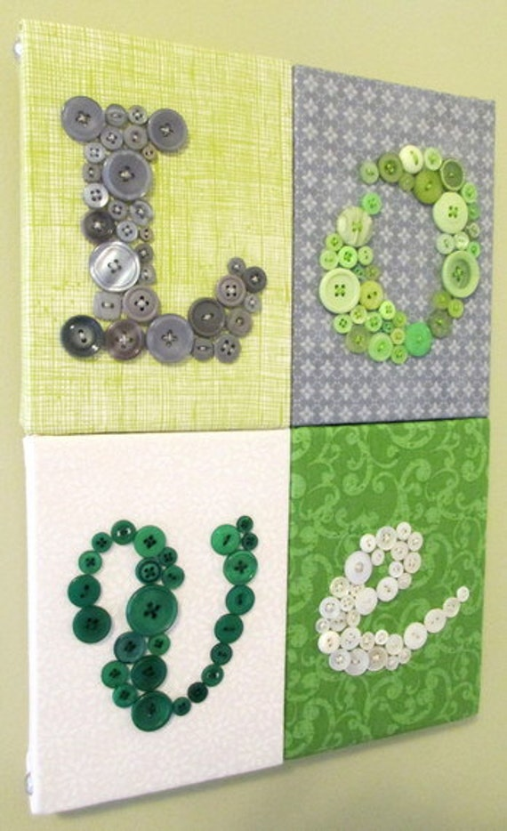 Nursery Wall Art, Personalized Kids Wall Art, 'Love' on 4 Canvases, Nursery Art Canvas, You Choose Fabrics and Buttons to Match Nursery