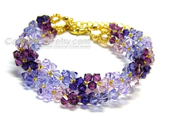 Swarovski Crystal Bracelet, Purple and Lavender Swarovski Crystal Bracelet by CandyBead