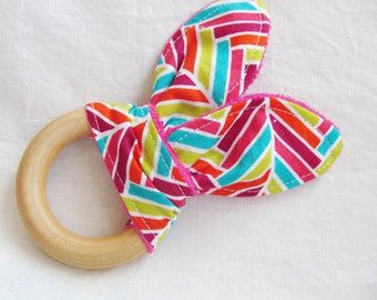 Natural Wooden Teether with Crinkles - Interwoven in Bright Pink, Aqua, Rasperry and Lime with Fuschia Pink Minky Dot - Natural Teething