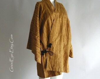 Vintage Haori Kimono Robe JAPAN 1960 / Small Medium Jacket Length / BAMBOO Stripes / Golden Tan Rayon Crepe