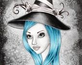 Witch Art Print - 8 x 10 - Halloween Witch Fantasy Art Print - Esme - by Nikki Burnette
