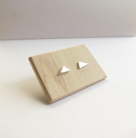 Sterling Silver Minimalist Geometric triangle stud earrings
