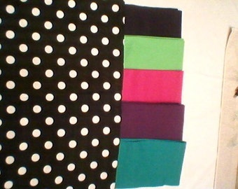 24 CHAIR POCKETS Durable black & white Cotton Polka dot print with black, red, green, yellow, blue or purple backers