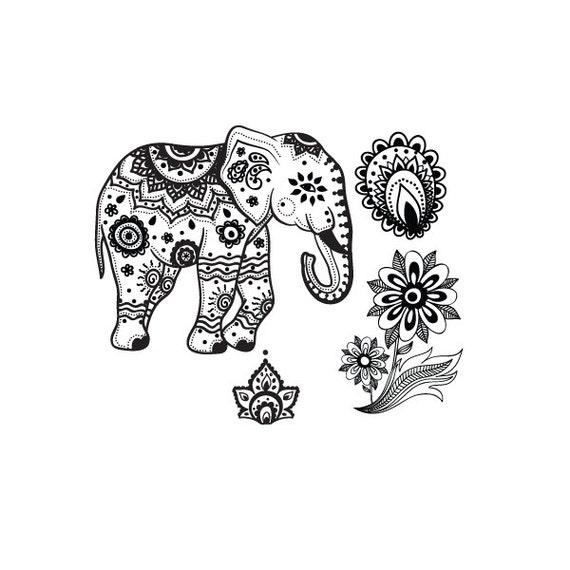 Mehndi Elephant Meaning : Ensemble de tatouage temporaire �l�phant par