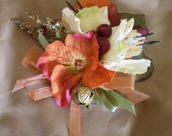 Fall floral brooch pin back corsage boutonniere flower women's boho Autumn fashion accessory renaissance bohemian harvest bridal wedding