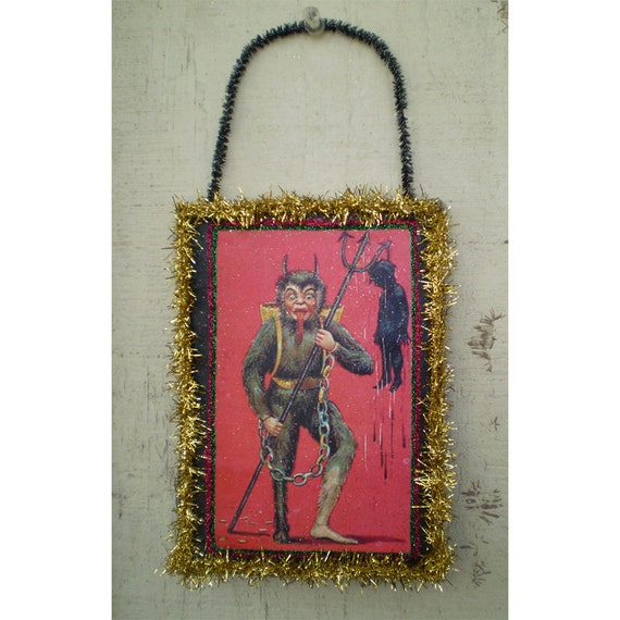 Krampus Christmas decoration holiday Yule vintage inspired holiday home decor wall hanging ornament