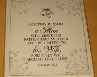 Genesis 2:24 Wedding Day Card