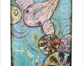 Koi Fish - Mixed-Media Art Print