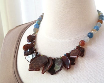 Necklace hessonite drops and blue agate short chunky statement. HALF PRICE SALE. Take 50% off.