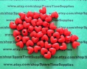 Darice - 06277-1-01 Heart Pony Bead - opaque red  - 11mm - 65 pcs
