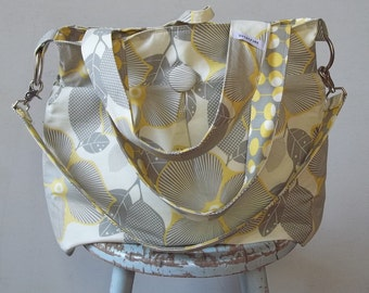 Extra Large Grey Yellow Diaper Bag, 6 Pockets, Reversible, Removeable Strap