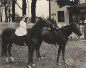 vintage photo Brother Sister Ride Horses Bareback by House RPPC 1913