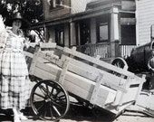 vintage photo Paloma Street Los ANgeles Woman stands by Cart Red Crown Gas Jalopy Hotel