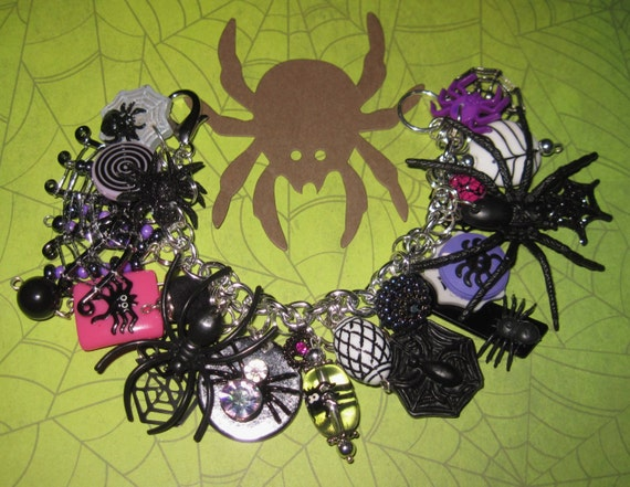 Spider Charm Bracelet Halloween Jewelry Spider Web Beads Charms Loaded OOAK Repurposed Eclectic Statement Piece Psychobilly Goth Punk Scene