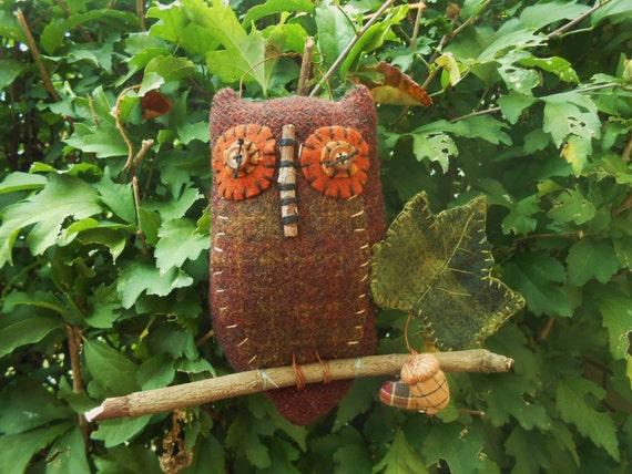 Primitive Wool Owl Soft Sculpture Ornament FAAP OFG