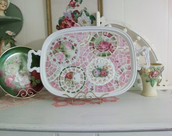 Gorgeous Shabby Mosaic Tray White Silverplate with Pink and Green China Roses Serving Tray Home Decor