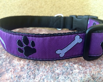 """1"""" wide Purple Dog Collar - Paws and Bones - buckle or martingale - fleece lined or plain - custom made"""