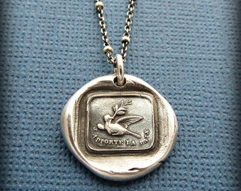 Peace Dove wax seal necklace - Friendship Necklace - I Bring Peace and Good Tidings - FS630