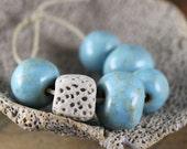 Handmade stoneware ceramic beads Sky Blue Assortment (6)