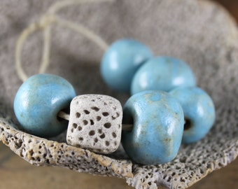 Handmade stoneware ceramic beads Sky Blue Assortment (6)
