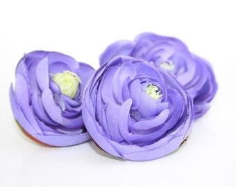 3 Shabby Chic Ranunculus in Medium Purple - 2.25 inches - Artificial Flowers - ITEM 0672
