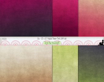 "12 x 12"" Distressed Raspberry Hues of Pink Green and Beige Digital Scrapbook Papers Instant Download Set of 6 JPEG Commercial Use 1572"