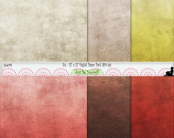 "12 x 12"" Red Brown Beige Yellow Leather Texture Earthtones Digital Scrapbook Paper Instant Download Set of 6 JPEG Commercial Use 1604"