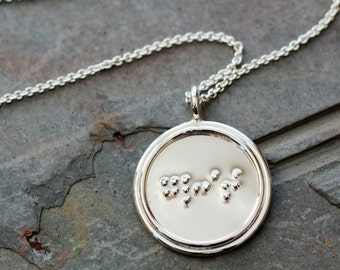 Custom Large Braille Single-Sided Pendant with Double Rim and Necklace