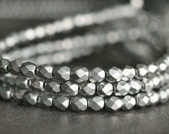 Matte Metallic Silver Czech Bead 4mm Faceted  Round : 50 Czech Glass  Beads