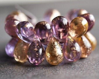 Gold Dust Czech Glass Bead 9x6mm Teardrop : Full Strand
