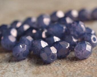 Milky Alexandrite Moon Dust Czech Glass Bead 6mm Faceted Round :  25 pc