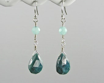 Apatite and Amazonite Silver Dangle Earrings Teal and Light Blue