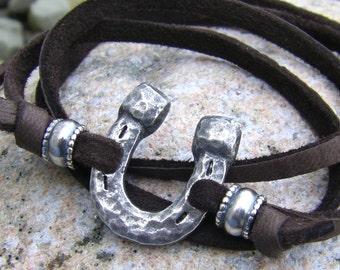 Hammered Horse Shoe Wrap Bracelet, Brown or Black Leather Lace Bracelet, Rustic Horse Jewelry, Equestrian Wrap Bracelet or Necklace