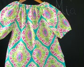 Ready to MAIL - Peasant TOP - Michael Miller - Aqua and Lime Multi Lattice - Will fit Size 8 yr up to 11 yr - by Boutique Mia