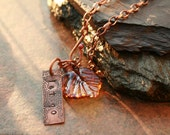 Artisan glass lampwork leaf and affirmation necklace ... Let go ... copper etched by Simply Cindy
