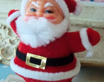 Merry Kitschmas / Vintage / Flocked Santa Claus / Christmas Decoration / Unopened Package / Bumpy Chenille Beard