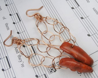 Copper Earrings, Coral Earrings, Unique Copper Wire Work with Genuine Red Coral - STATEMENT JEWELRY
