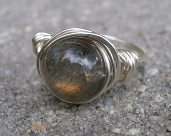 Labradorite Ring, Handcrafted Silver, Gold Flash Chatoyant Gemstone Jewelry, Silver Wire Wrap, Beautiful Stone, Gray Rings, Size 6 1/2