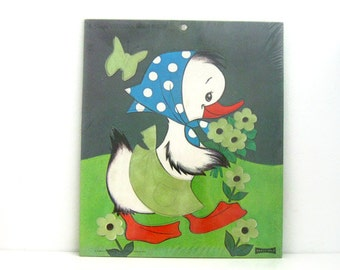 Vintage 1960s Inlay Tray Puzzle Flocked Fuzzy Duck by Saalfield - Unused Toy Factory Sealed