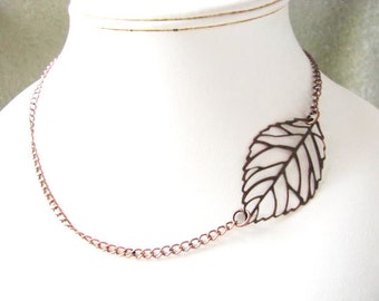Copper Finish Side ways Lace Leaf Chain Necklace