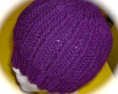 Lady's Hat, Hand Knit, Purple Grape, One Size Fits Most