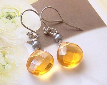 Bridesmaids Earrings – Grey and Yellow Bridal Jewelry, Wedding Jewelry, Maid of Honor – 5036