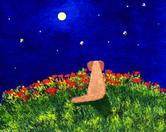 Golden Retriever Dog folk art PRINT of Todd Young painting Moon and Stars