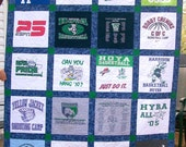 T Shirt Quilt Memory Quilt Custom Order Quilt Throw Size - Using Your 12 Shirts