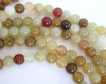 Rainbow Soocho Jade 7mm Round Beads Serpentine Gemstone