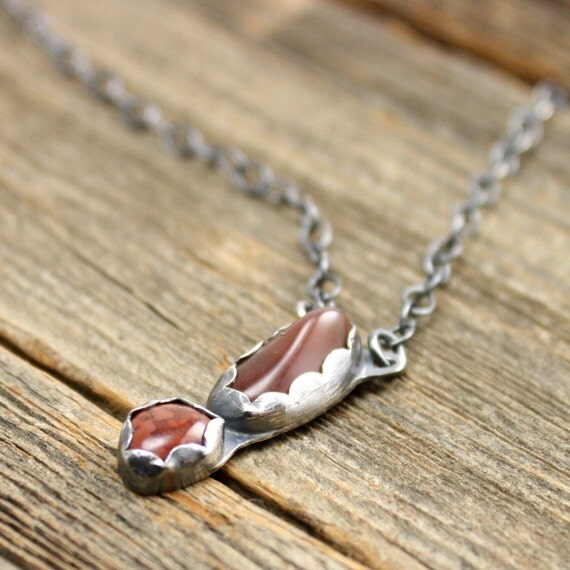 Exclamation Necklace in Lake Superior Agate Sterling and Fine Silver.