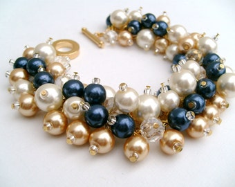 Set of 7 Bracelets, Wedding, Pearl Bridesmaid Bracelet, Cluster Bracelet, Navy Ivory Gold Pearl Bracelet, Ivory Pearl Jewelry, Nautical