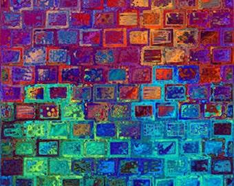 Artist Hand Created Mixed Media Fabric Large Panel  Abstract Fiber Art Wall Bricks Bright